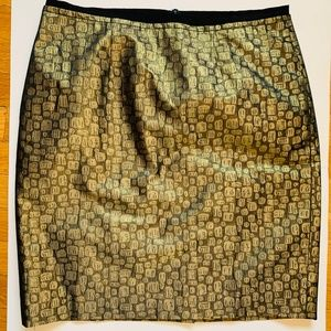 Ann Taylor LOFT gold & black pattern skirt sz 12